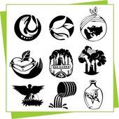 Eco designelementen en pictogrammen — Stockvector
