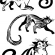 Stylized Cats - elegance and graceful cats. — Imagen vectorial