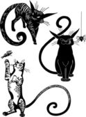 Stylized Cats - elegance and graceful cats. — Stock Vector