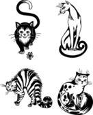 стилизованные кошки - элегантность и изящные кошки. — Cтоковый вектор
