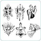 Religion chrétienne - illustration vectorielle. — Vecteur