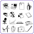 Items Office - business set. Vector illustration. — Stok Vektör