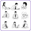Office workers - business set. — Stock Vector