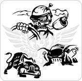 Simboli vettoriali per camion e auto — Vettoriale Stock