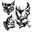 Vector Set - Aggressive Cats. — Stock Vector