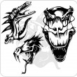 Vector Set - Aggressive Dragon. — Vettoriali Stock