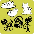 Black and White Cats - Vector set. — Vektorgrafik