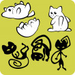 Black and White Cats - Vector set. — Stockvectorbeeld