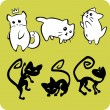 Black and White Cats - Vector set. — 图库矢量图片