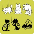 Black and White Cats - Vector set. — Image vectorielle