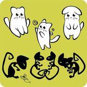 Zwart-witte katten - vector set. — Stockvector