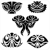Masks in the North American style. Vector set. — Stock Vector