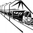 Train on station. Vector illustration. — Vettoriali Stock