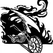 Flame and motorbike. Vector illustration. — Stock Vector