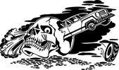 Skull and car. Vector illustration. — Stock Vector