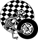 Checkered flag and skeleton. Vector illustration. — Stock Vector