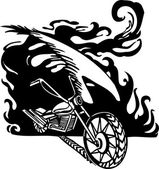 Flamme et moto. illustration vectorielle. — Vecteur