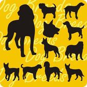 Silhouettes of Dogs - vector set. — Stockvektor
