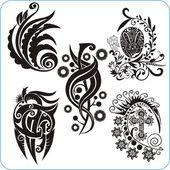 Easter Design - vector set floral symbols — Stock Vector