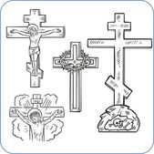 Cross and crucifix - vector illustration. — Stock Vector