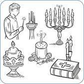 Dolci di pasqua e la bibbia - illustrazione vettoriale — Vettoriale Stock