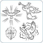 Angels and doves - vector illustration. — Stock Vector