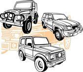 Off-Road Cars - Vector set. — Stock Vector