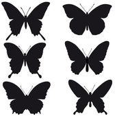 Black silhouettes of butterflies on white background, vector — Stock Vector
