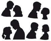 Silhouette сouple in love, kiss moment. Falling in love, lovers, — Stock Vector