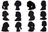 Silhouette of a girls head, face in profile — Stock Vector