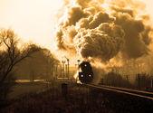 Eski retro buharlı tren — Stok fotoğraf
