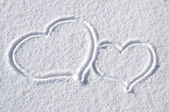 Hearts in the Snow — Stock Photo