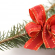 Pine branch with a red bow — Stock Photo #1890304