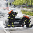 Firefighters are putting out a burning car — Stock Photo #26545981