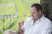 Winemaker drinks white wine — Stock Photo