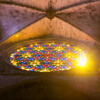Sunshine through the stained-glass window of the Cathedral in Pa — Stock Photo