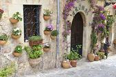 Typisch mediterranes dorf mit blumentöpfe in fassaden im val — Stockfoto