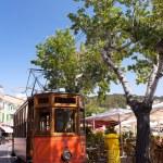 Classic wood tram train of Puerto de Soller in Mallorca, Spain — Stock Photo