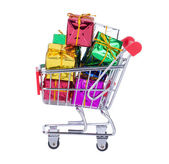 Shopping Cart With Gift Boxes — Stock Photo