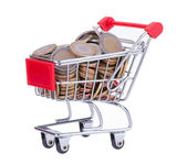 Shopping Cart With Euro Coins — Stock Photo