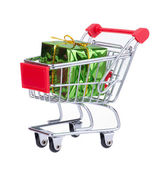 Shopping Cart With Gift Box — Stock Photo