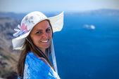 Woman Enjoying The View of Santorini — Stock Photo