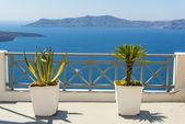 красивый вид на море от фиры в санторини, греция — Стоковое фото