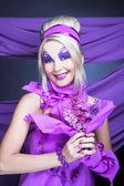 Girl in violet — Stock Photo