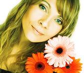 çiçekli kadın — Stok fotoğraf
