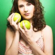 Girl with apples — Stock Photo