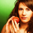 Woman with peaches — Stock Photo