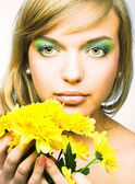 Girl with flowers — Foto Stock
