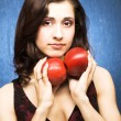 Stock Photo: Girl with apples
