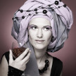 Young womin violet turban — Stock Photo #40171321
